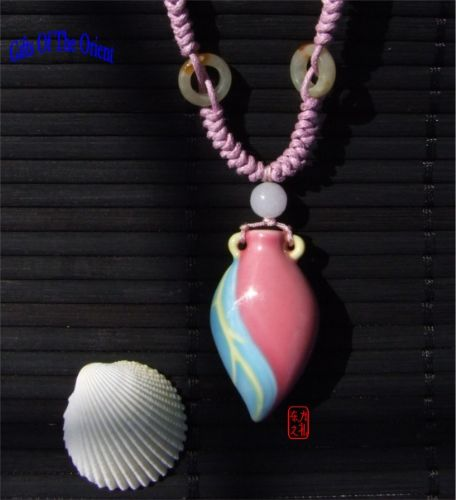 "Aromatherapy Necklace – ""Pink"" mini Amphora and Jade bead thread"